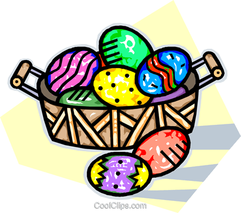 Easter basket of decorated eggs Royalty Free Vector Clip Art illustration vc014200