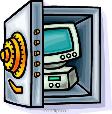 computer in a bank vault Royalty Free Vector Clip Art illustration vc014208