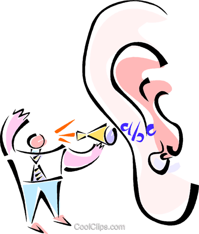 businessman shouting in a persons ear Royalty Free Vector Clip Art illustration vc014282