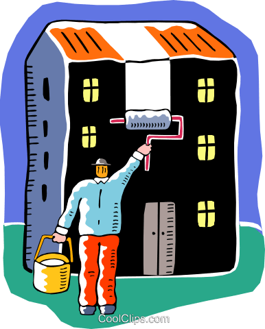 man painting the outside of the house Royalty Free Vector