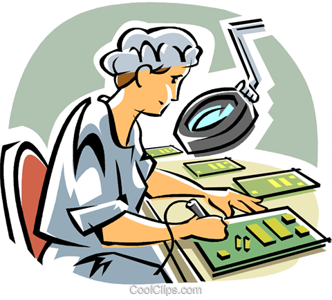 Computer technician Royalty Free Vector Clip Art illustration vc014392