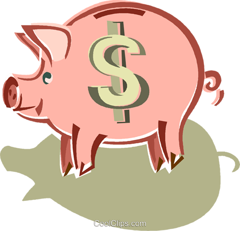 piggy bank Royalty Free Vector Clip Art illustration vc014430