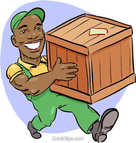 man carrying a shipping crate Royalty Free Vector Clip Art illustration vc014684