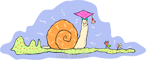 cartoon snail with graduation hat Royalty Free Vector Clip Art illustration vc014738