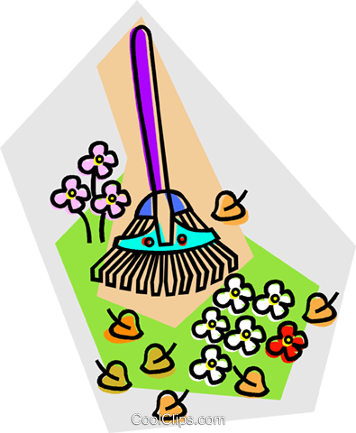 lawn rake Royalty Free Vector Clip Art illustration vc014826