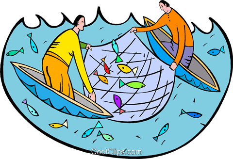 fishermen with fishing nets royalty free vector clip art rh search coolclips com