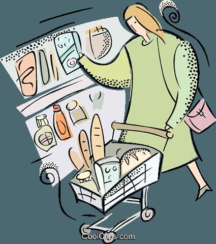 女人做买菜 免版税矢量剪贴画插图