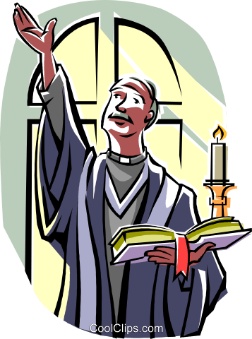 Religious ceremony Priest with bible Royalty Free Vector Clip Art illustration vc015018