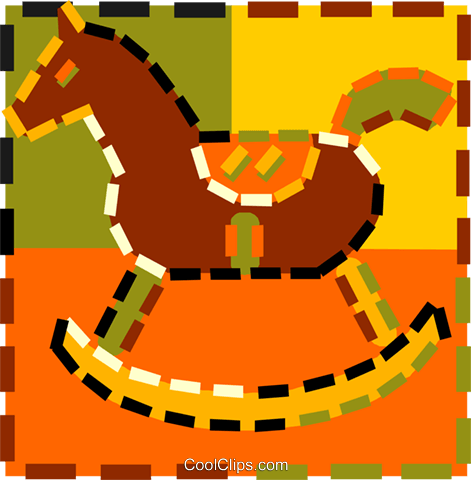 rocking horse Royalty Free Vector Clip Art illustration vc015082