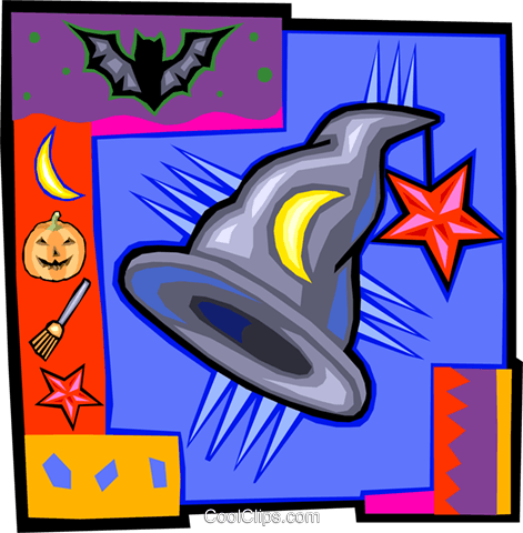witches hat, Halloween Royalty Free Vector Clip Art illustration vc015090