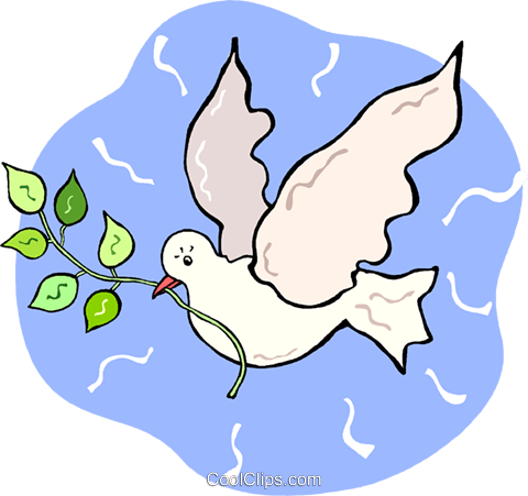 white dove with an olive branch Royalty Free Vector Clip Art illustration vc015178