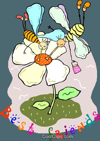 蜜蜂与花 免版税矢量剪贴画插图