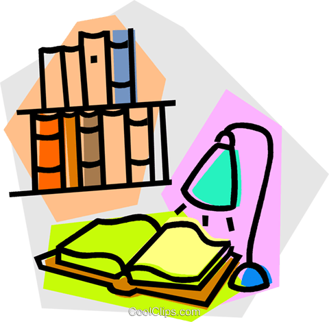 open book under a lamp Royalty Free Vector Clip Art illustration vc015188