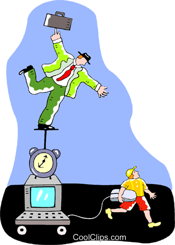 businessman balancing on a computer Royalty Free Vector Clip Art illustration vc015288