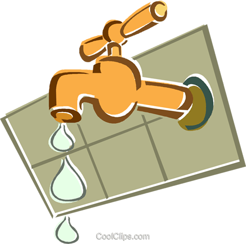 leaking faucet Royalty Free Vector Clip Art illustration vc015383