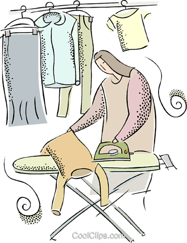 woman ironing clothes Royalty Free Vector Clip Art illustration vc015601