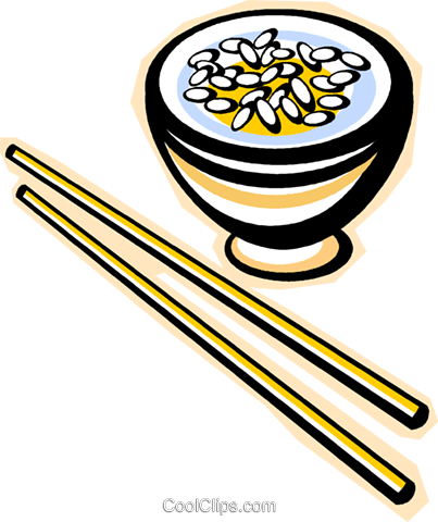 chopsticks with rice Royalty Free Vector Clip Art illustration vc015782