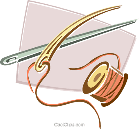 needle and thread Royalty Free Vector Clip Art illustration vc015970