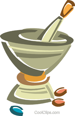 pestle and mortar Royalty Free Vector Clip Art illustration vc015982