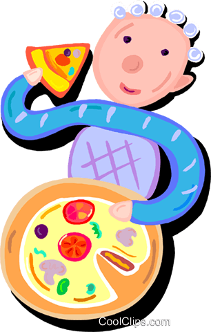 boy eating pizza Royalty Free Vector Clip Art illustration vc016229