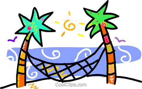 palm trees with a hammock Royalty Free Vector Clip Art illustration vc016260