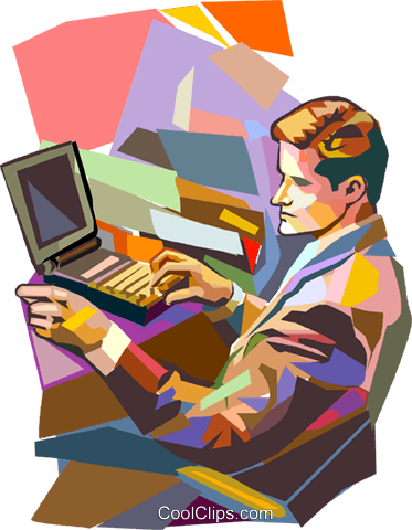 businessman working on a computer Royalty Free Vector Clip Art illustration vc016444