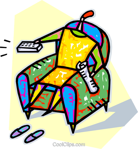 sitting in a chair with the remote control Royalty Free Vector Clip Art illustration vc016501