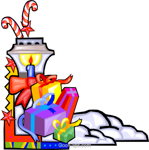 Christmas presents by a lamp Royalty Free Vector Clip Art illustration vc016512