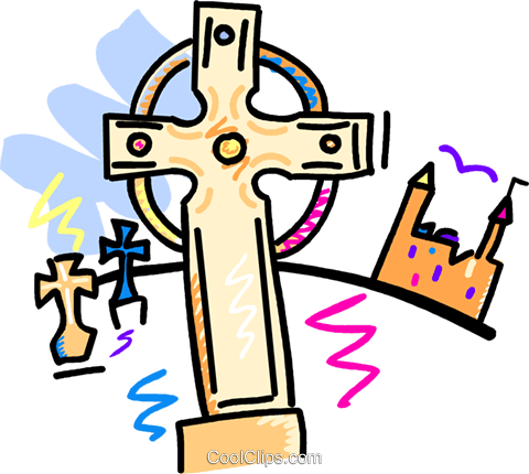 crosses in a grave yard with castle Royalty Free Vector Clip Art illustration vc016615