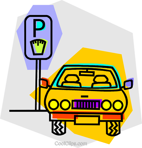 car parked at a parking meter Royalty Free Vector Clip Art illustration vc016680