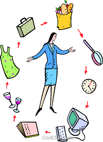 standing in the middle of her daily routine Royalty Free Vector Clip Art illustration vc016755