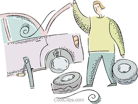 man changing a flat tire on the car Royalty Free Vector Clip Art illustration vc016766