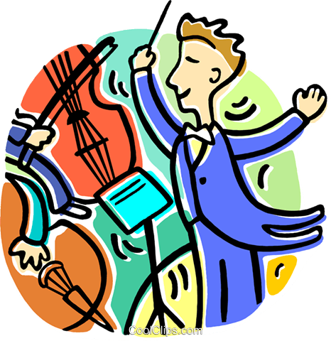 conductor conducting the orchestra royalty free vector clip art rh search coolclips com orchestra conductor clipart orchestra clip art free