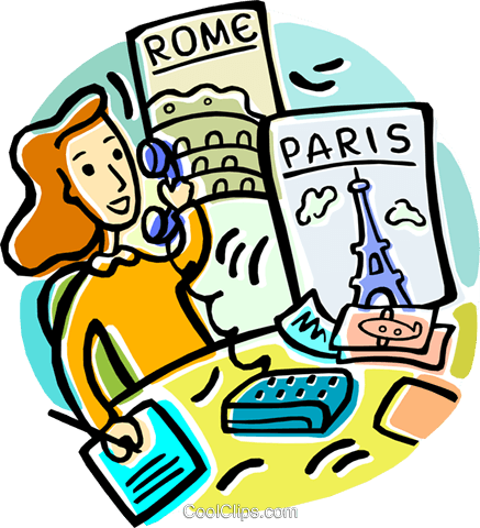 Travel Agent Booking Vacations Royalty Free Vector Clip Art Illustration