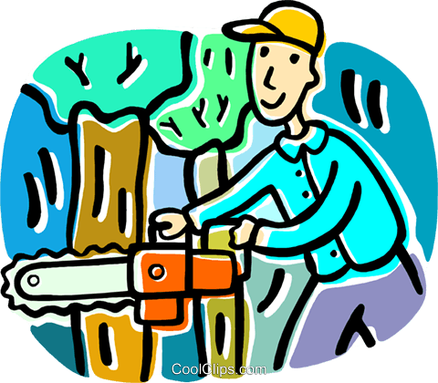 Man Cutting Down A Tree Royalty Free Vector Clip Art Ilration
