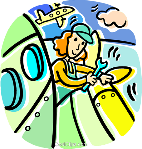 airline mechanic working on a plane Royalty Free Vector Clip Art illustration vc016807