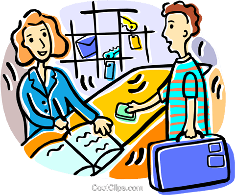 Man Checking Into A Hotel Royalty Free Vector Clip Art Illustration