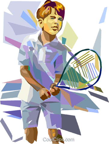 Boy playing tennis Royalty Free Vector Clip Art illustration vc016932