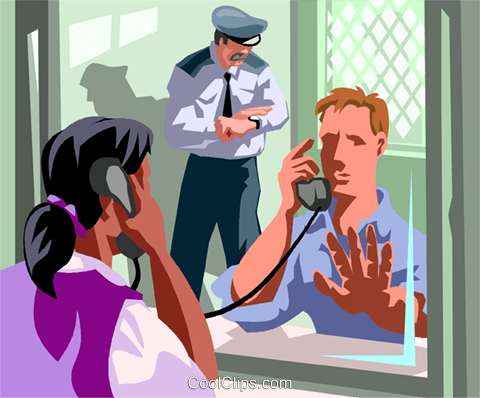 convict with a visitor in jail Royalty Free Vector Clip Art illustration vc017013
