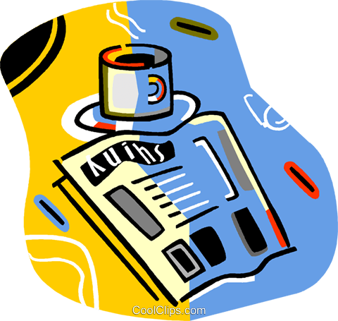cup of coffee and a newspaper Royalty Free Vector Clip Art illustration vc017240