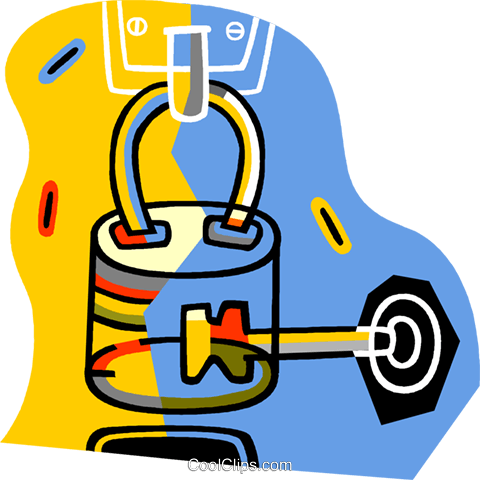 lock and key Royalty Free Vector Clip Art illustration vc017250