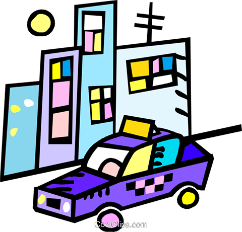 taxi in front of apartment buildings Royalty Free Vector Clip Art illustration vc017386