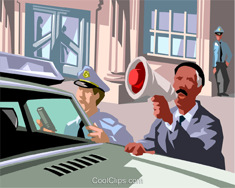 cops in a stand off Royalty Free Vector Clip Art illustration vc017524