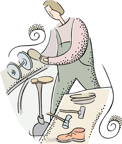 cobbler making shoes Royalty Free Vector Clip Art illustration ...