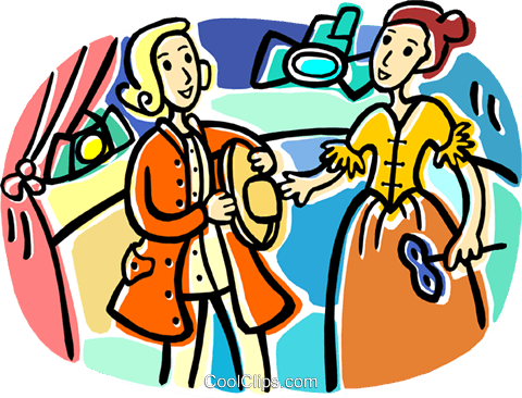 Two actors on stage Royalty Free Vector Clip Art illustration vc017555