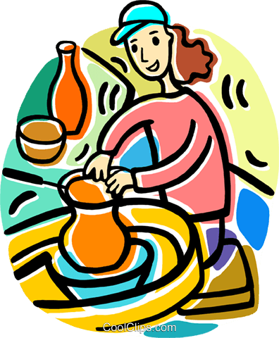 woman making pottery Royalty Free Vector Clip Art illustration ...