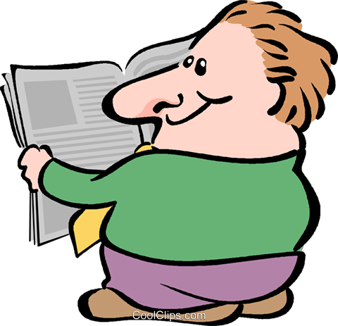 man reading the newspaper Royalty Free Vector Clip Art illustration vc017607