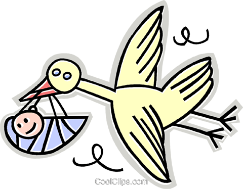 Stork with a baby Royalty Free Vector Clip Art illustration vc017784