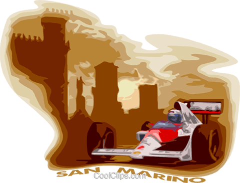 Race car at the San Marino grand prix Royalty Free Vector Clip Art illustration vc017888