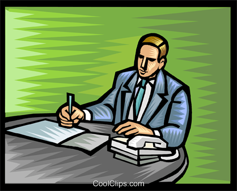 businessman working at his desk Royalty Free Vector Clip Art illustration vc017900